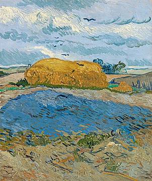 Vincent van Gogh, Covone sotto un cielo nuvoloso, 1889 © 2021 Collection Kröller-Müller Museum, Otterlo, the Netherlands; photo Rik Klein Gotink, Harderwijk